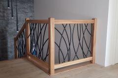 balustrada wewnętrzna - stal i drewno